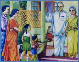 Grosseltern besuchen am Neujahrstag Tradition Sri Lanka