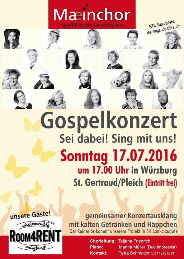 MaeinChor Gospel Konzert am 17 Juli 2016 in Wuerzburg zugunsten Sirasara St Gertraud Pleich